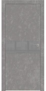 Межкомнатная дверь, ZM003 (экошпон бетон, лакобель серый, алюминиевая кромка)