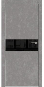 Межкомнатная дверь ZM003 (экошпон «бетон» / лакобель черный) — 0839
