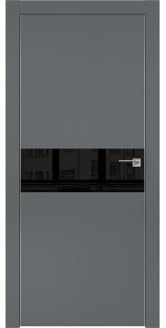 Межкомнатная дверь, ZM003 (экошпон графит, лакобель черный, алюминиевая кромка)