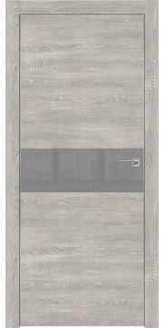 Межкомнатная дверь ZM003 (экошпон «серый дуб патина» / лакобель серый) — 0412