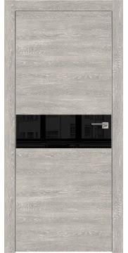 Остекленная дверь, ZM003 (экошпон серый дуб патина, лакобель черный, алюминиевая кромка)