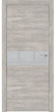 Дверь ZM003 (экошпон серый дуб патина, лакобель светло-серый, алюминиевая кромка)
