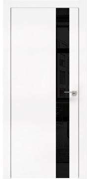 Межкомнатная дверь, ZM004 (экошпон белый, лакобель черный, алюминиевая кромка)