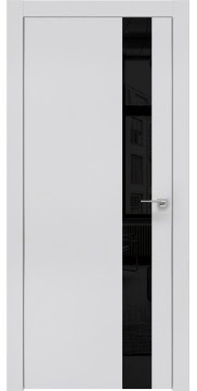 Межкомнатная дверь, ZM004 (экошпон светло-серый, лакобель черный, алюминиевая кромка)