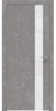Межкомнатная дверь, ZM004 (экошпон бетон, лакобель белый, алюминиевая кромка)