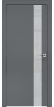 Межкомнатная дверь, ZM004 (экошпон графит, лакобель светло-серый, алюминиевая кромка)