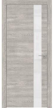 Межкомнатная дверь ZM004 (экошпон «серый дуб патина» / лакобель белый) — 0812