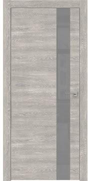 Межкомнатная дверь, ZM004 (экошпон серый дуб патина, лакобель серый, алюминиевая кромка)