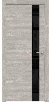 Межкомнатная дверь, каркас из массива сосны и МДФ, ZM004 (экошпон серый дуб патина, лакобель черный, алюминиевая кромка)