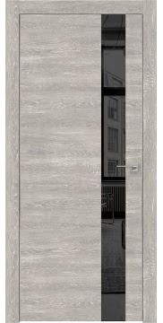 Межкомнатная дверь, ZM004 (экошпон серый дуб патина, зеркало тонированное, алюминиевая кромка)