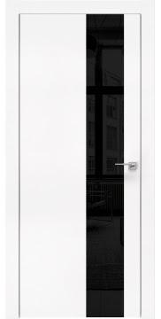 Межкомнатная дверь, ZM005 (экошпон белый, лакобель черный, алюминиевая кромка)