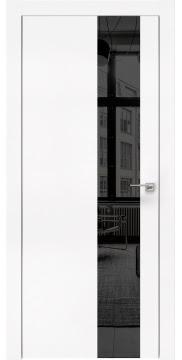 Межкомнатная дверь, ZM005 (экошпон белый, зеркало тонированное, алюминиевая кромка)