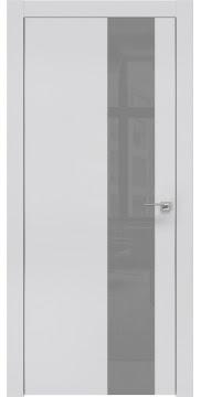Межкомнатная дверь, ZM005 (экошпон светло-серый, лакобель серый, алюминиевая кромка)