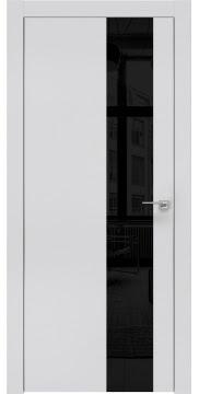 Межкомнатная дверь, ZM005 (экошпон светло-серый, лакобель черный, алюминиевая кромка)