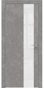 Межкомнатная дверь, ZM005 (экошпон бетон, лакобель белый, алюминиевая кромка)