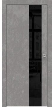 Межкомнатная дверь, ZM005 (экошпон бетон, лакобель черный, алюминиевая кромка)