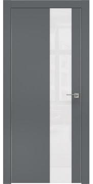 Межкомнатная дверь, ZM005 (экошпон графит, лакобель белый, алюминиевая кромка)