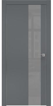 Межкомнатная дверь, ZM005 (экошпон графит, лакобель серый, алюминиевая кромка)