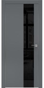 Межкомнатная дверь, ZM005 (экошпон графит, лакобель черный, алюминиевая кромка)