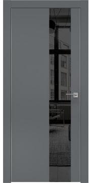 Межкомнатная дверь, ZM005 (экошпон графит, зеркало тонированное, алюминиевая кромка)