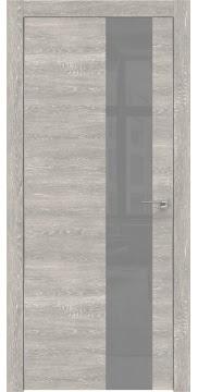 Межкомнатная дверь, ZM005 (экошпон серый дуб патина, лакобель серый, алюминиевая кромка)