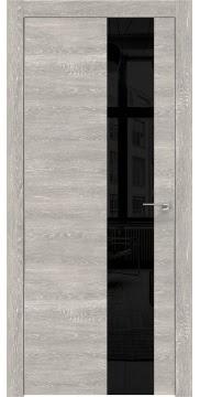 Межкомнатная дверь ZM005 (экошпон «серый дуб патина» / лакобель черный) — 0480
