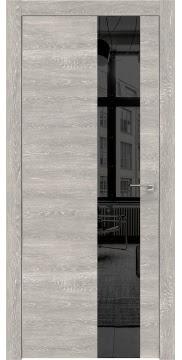 Межкомнатная дверь, ZM005 (экошпон серый дуб патина, зеркало тонированное, алюминиевая кромка)