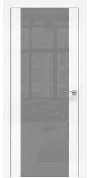 Межкомнатная дверь, ZM006 (экошпон белый, лакобель серый, алюминиевая кромка)