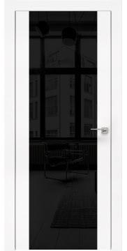 Межкомнатная дверь, ZM006 (экошпон белый, лакобель черный, алюминиевая кромка)