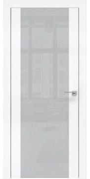 Межкомнатная дверь, ZM006 (экошпон белый, лакобель светло-серый, алюминиевая кромка)