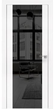 Межкомнатная дверь, ZM006 (экошпон белый, зеркало тонированное, алюминиевая кромка)