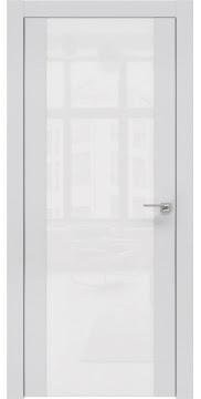Межкомнатная дверь, ZM006 (экошпон светло-серый, лакобель белый, алюминиевая кромка)