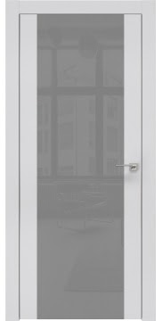 Межкомнатная дверь, ZM006 (экошпон светло-серый, лакобель серый, алюминиевая кромка)