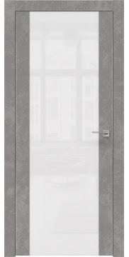 Дверь ZM006 (экошпон бетон, лакобель белый, алюминиевая кромка)