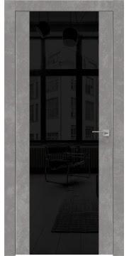 Межкомнатная дверь ZM006 (экошпон «бетон» / лакобель черный) — 0884