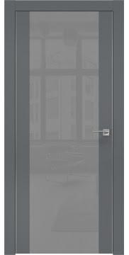 Межкомнатная дверь, ZM006 (экошпон графит, лакобель серый, алюминиевая кромка)