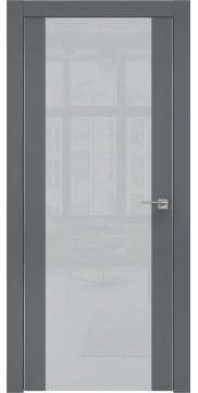 Межкомнатная дверь, ZM006 (экошпон графит, лакобель светло-серый, алюминиевая кромка)