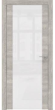 Межкомнатная дверь ZM006 (экошпон «серый дуб патина» / лакобель белый) — 0537