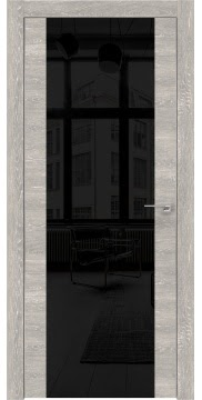 Межкомнатная дверь ZM006 (экошпон «серый дуб патина» / лакобель черный) — 0539
