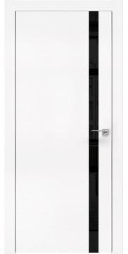 Межкомнатная дверь, ZM007 (экошпон белый, лакобель черный, алюминиевая кромка)