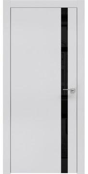 Межкомнатная дверь, ZM007 (экошпон светло-серый, лакобель черный, алюминиевая кромка)