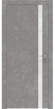 Дверь ZM007 (экошпон бетон, лакобель белый, алюминиевая кромка)