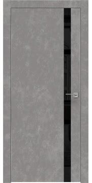 Межкомнатная дверь, ZM007 (экошпон бетон, лакобель черный, алюминиевая кромка)