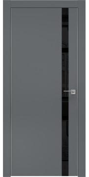 Межкомнатная дверь, ZM007 (экошпон графит, лакобель черный, алюминиевая кромка)
