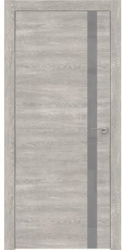 Влагостойкая дверь со стеклянной вставкой, ZM007 (экошпон серый дуб патина, лакобель серый, алюминиевая кромка)