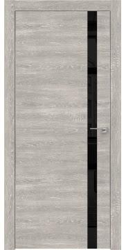 Межкомнатная дверь ZM007 (экошпон «серый дуб патина» / лакобель черный) — 0549