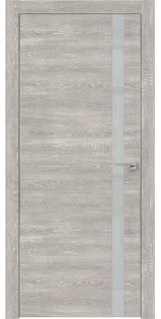 Межкомнатная дверь, ZM007 (экошпон серый дуб патина, лакобель светло-серый, алюминиевая кромка)