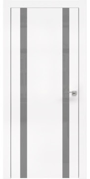 Межкомнатная дверь, ZM008 (экошпон белый, лакобель серый, алюминиевая кромка)