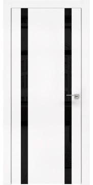 Межкомнатная дверь, ZM008 (экошпон белый, лакобель черный, алюминиевая кромка)