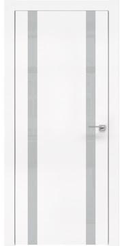 Межкомнатная дверь, ZM008 (экошпон белый, лакобель светло-серый, алюминиевая кромка)